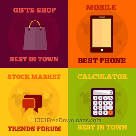 Set of flat design concepts- gifts, stock market, mobile, electronics