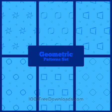 Blue geometric patterns set
