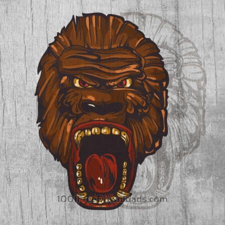 Ape head  mascot on wood texture