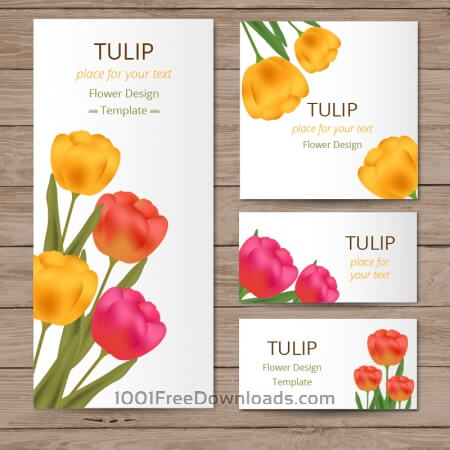 Floral cards with tulips on wood texture