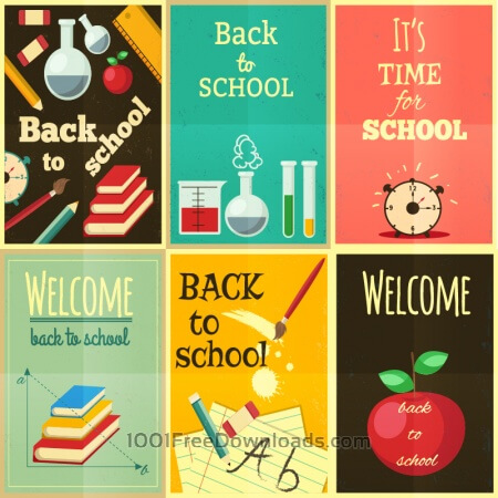 Back to school set of illustrations