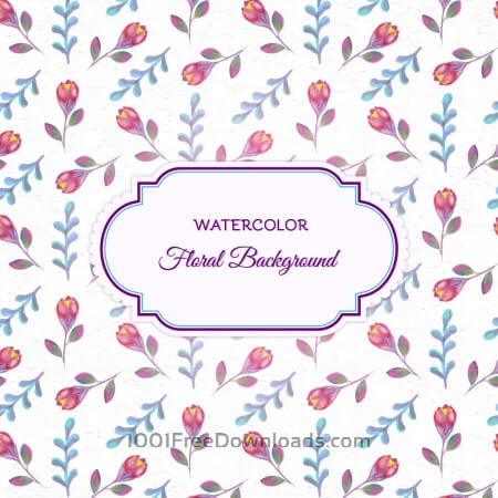 Watercolor floral background  with frame