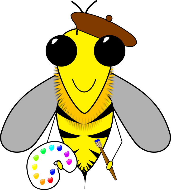 Free Clipart: Bee Artist | Animals | jesseakc