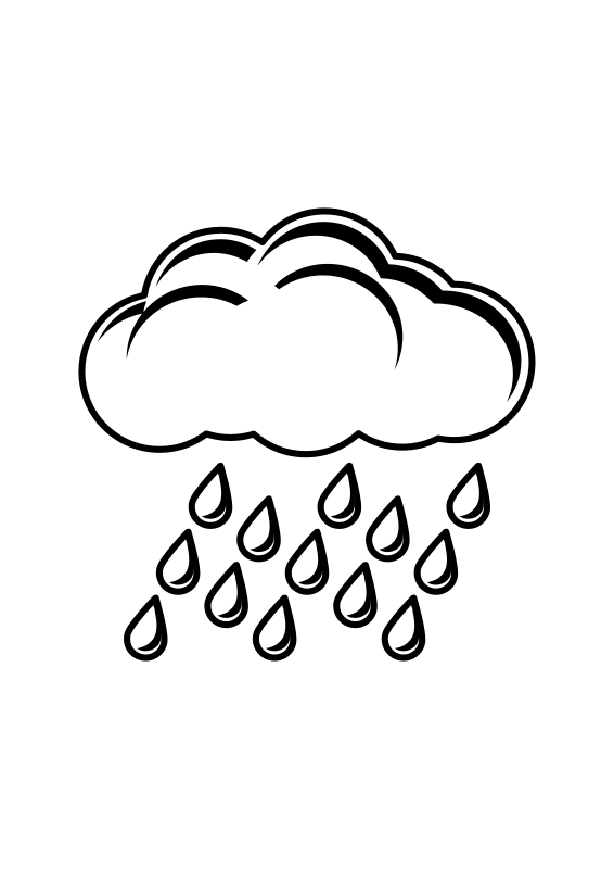 Free Clipart: Raincloud Black & White | Objects