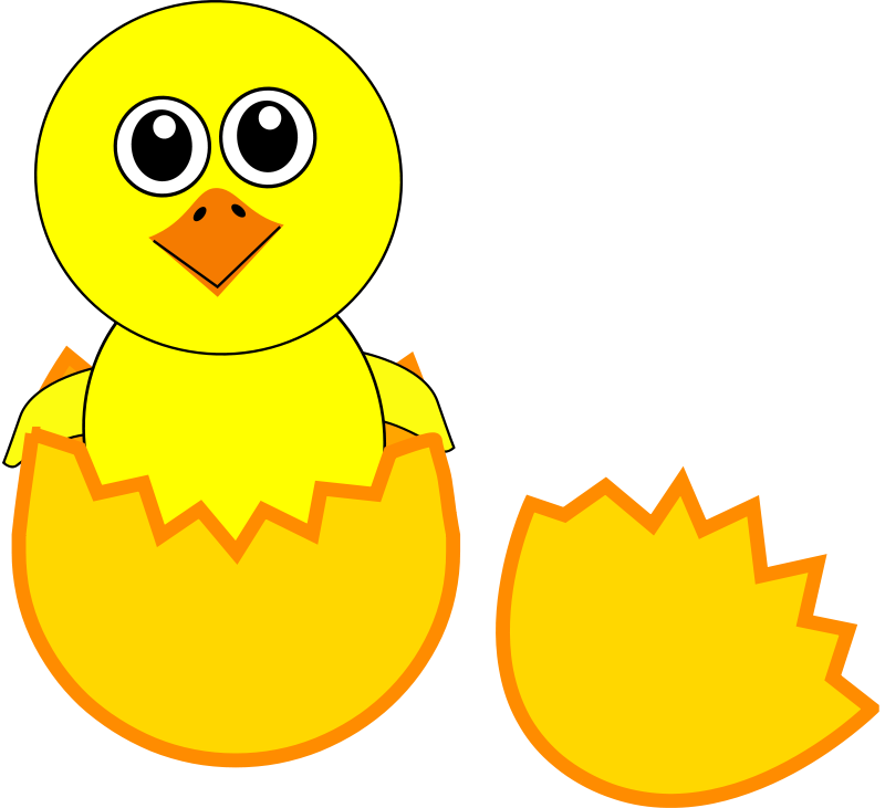 Free Clipart: Funny Chick Cartoon Newborn Coming Out from the Egg ...