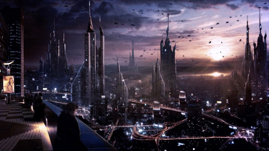 Futuristic City Skyline Night Futuristic City Skyline at